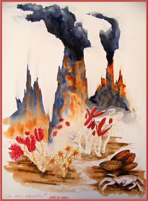 Des oasis abyssales. Aquarelle de Laela ©2013
